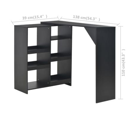 vidaXL Baro stalas su judinama lentyna, juodos sp., 138x40x120cm[6/6]