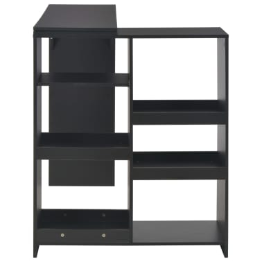 vidaXL Baro stalas su judinama lentyna, juodos sp., 138x40x120cm[4/6]