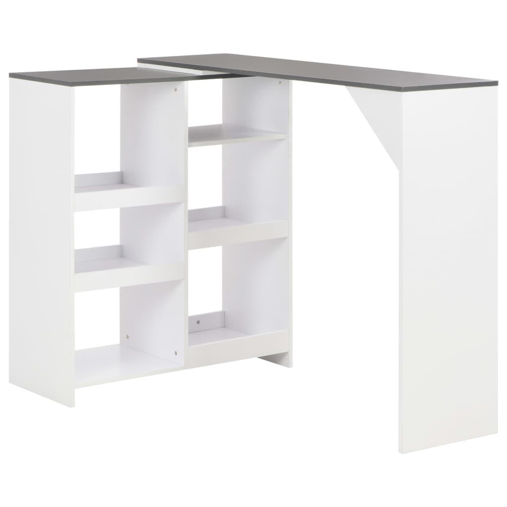 vidaXL Τραπέζι Μπαρ με Κινητή Ραφιέρα Λευκό 138 x 40 x 120 εκ.