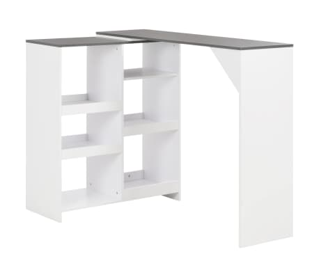 vidaXL Bar Table with Moveable Shelf White 138x40x120 cm