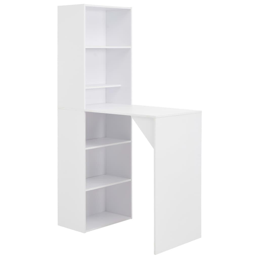 vidaXL Τραπέζι Μπαρ με Ραφιέρα Λευκό 115 x 59 x 200 εκ.