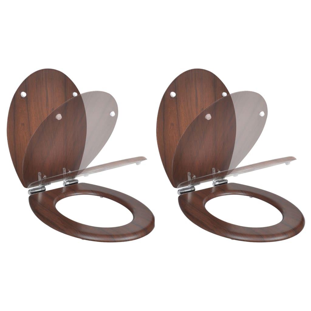 vidaXL Scaun toaletă capac cu închidere silențioasă 2 buc. maro MDF imagine vidaxl.ro
