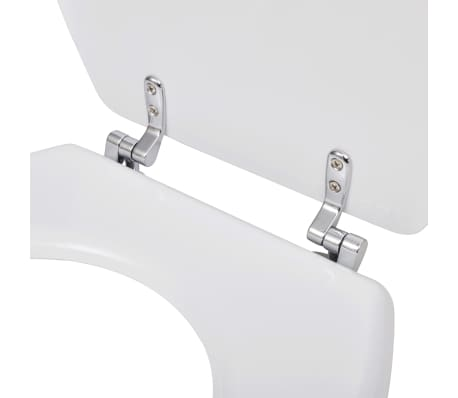 vidaXL Toiletbrillen met hard-close deksels 2 st MDF wit[6/9]