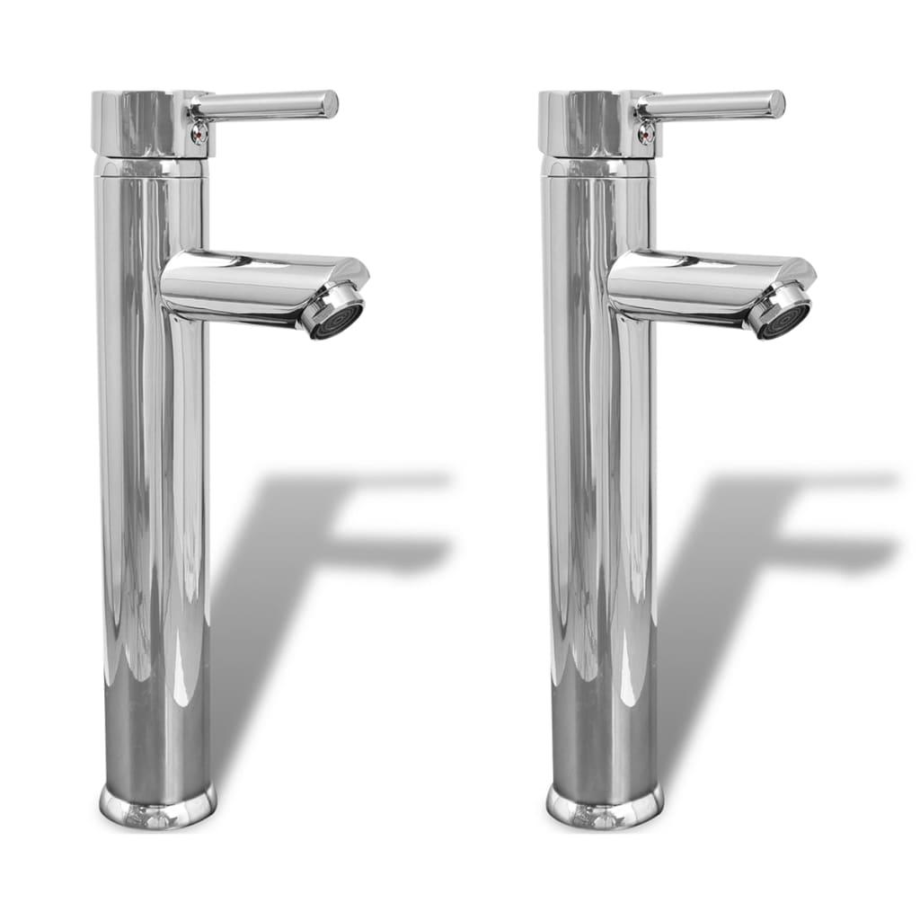 vidaXL Baterie baie robinete cu monocomandă, 2 buc., crom imagine vidaxl.ro