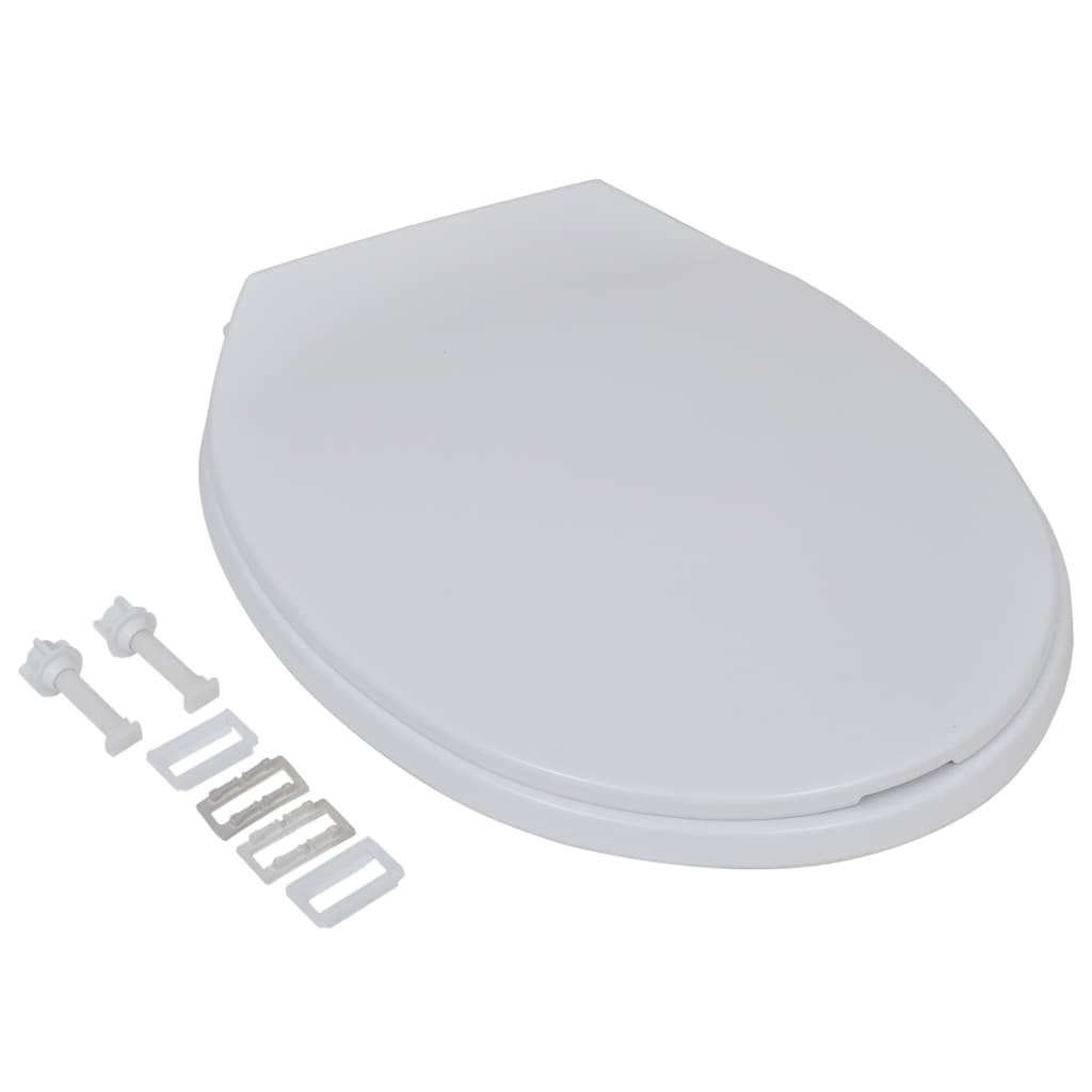 vidaXL Toiletbrillen met soft-close deksels 2 st kunststof wit