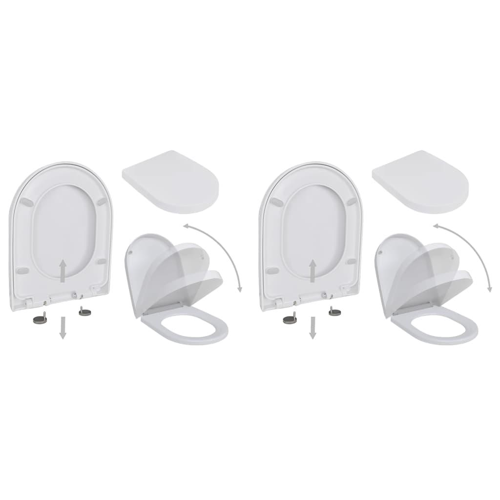 vidaXL WC sedátka s funkcí pomalého sklápění 2 ks bílá plastová