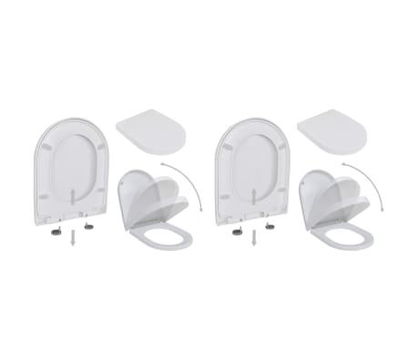 vidaXL Abattant WC avec frein de chute 2 pcs Plastique Blanc