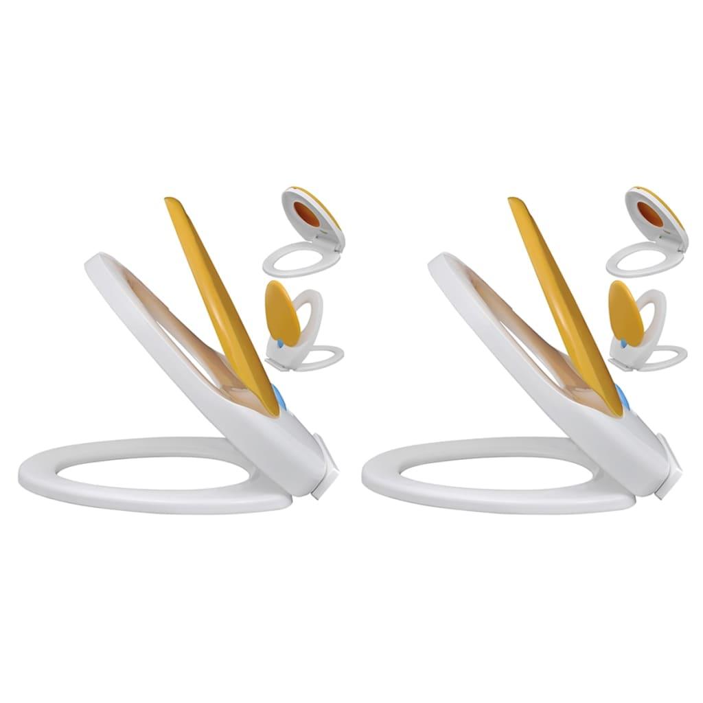 vidaXL Capace WC închidere silențioasă, 2 buc., alb & galben, plastic imagine vidaxl.ro