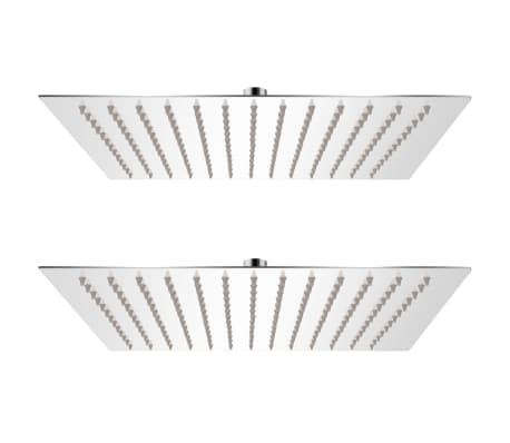 vidaXL Regnduschhuvud 2 st rostfritt stål 30x30 cm