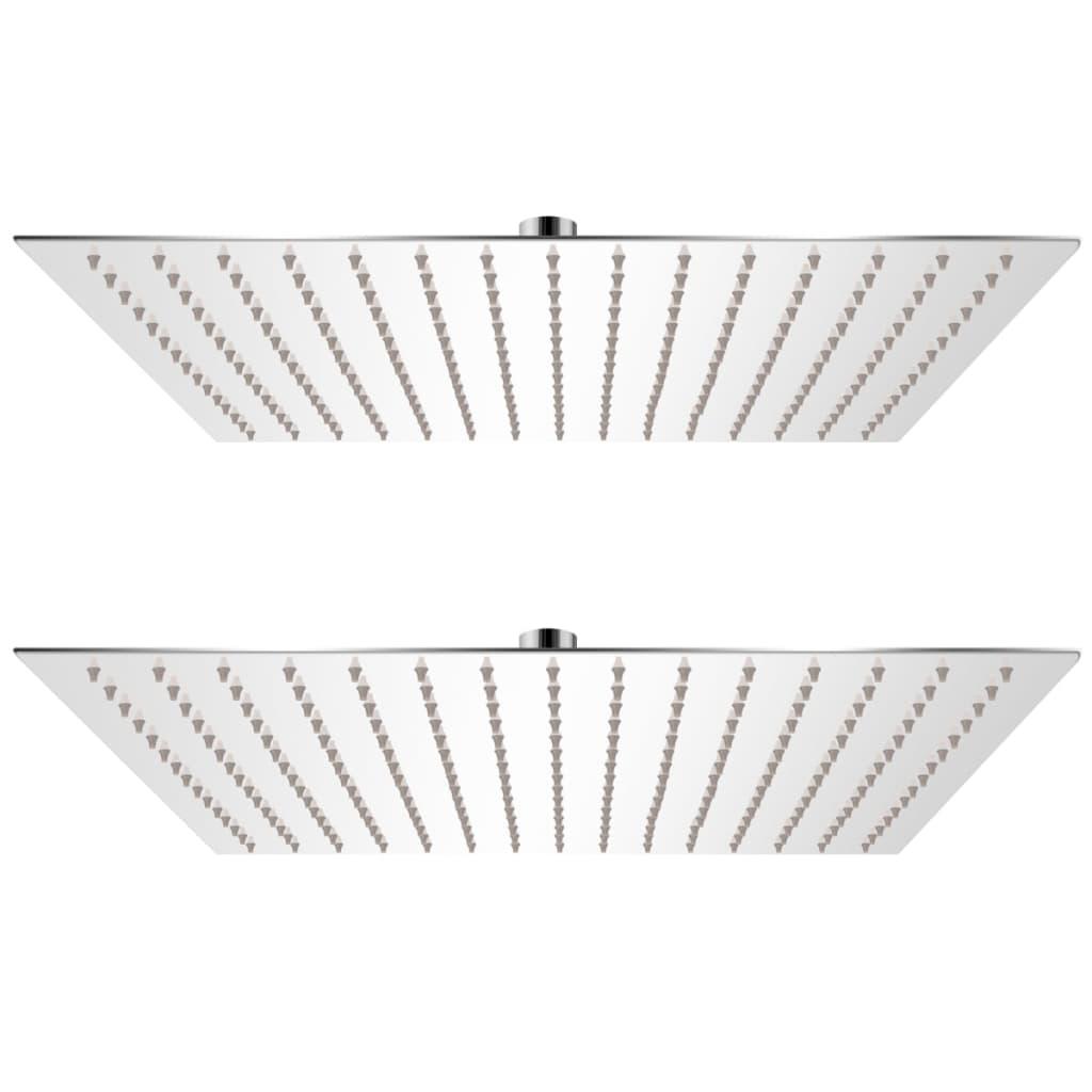 vidaXL Cap de duș tip ploaie, 2 buc., 40 x 40 cm, oțel inoxidabil poza vidaxl.ro