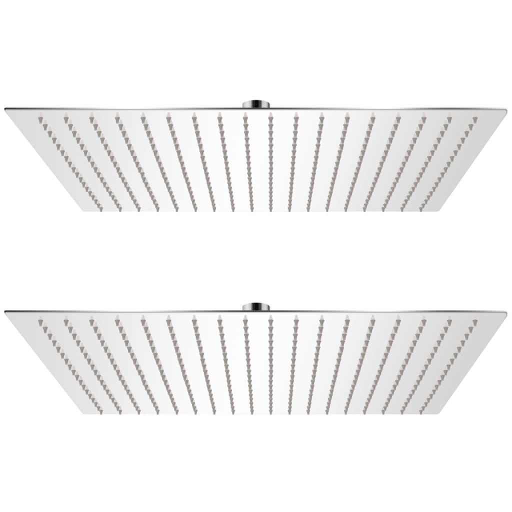 vidaXL Cap de duș tip ploaie, 2 buc., 50 x 50 cm, oțel inoxidabil vidaxl.ro