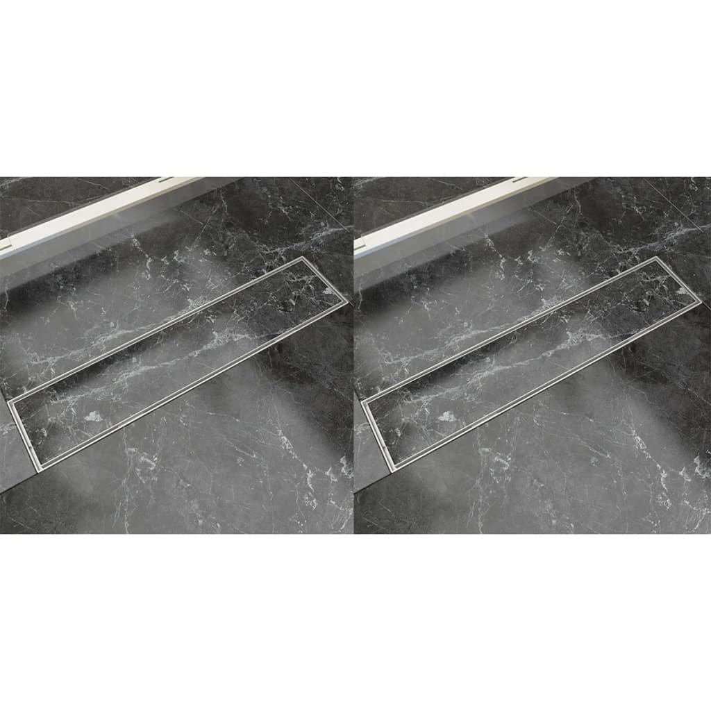 vidaXL Rovný sprchový odtokový žlab 2 ks 530 x 140 mm nerezová ocel