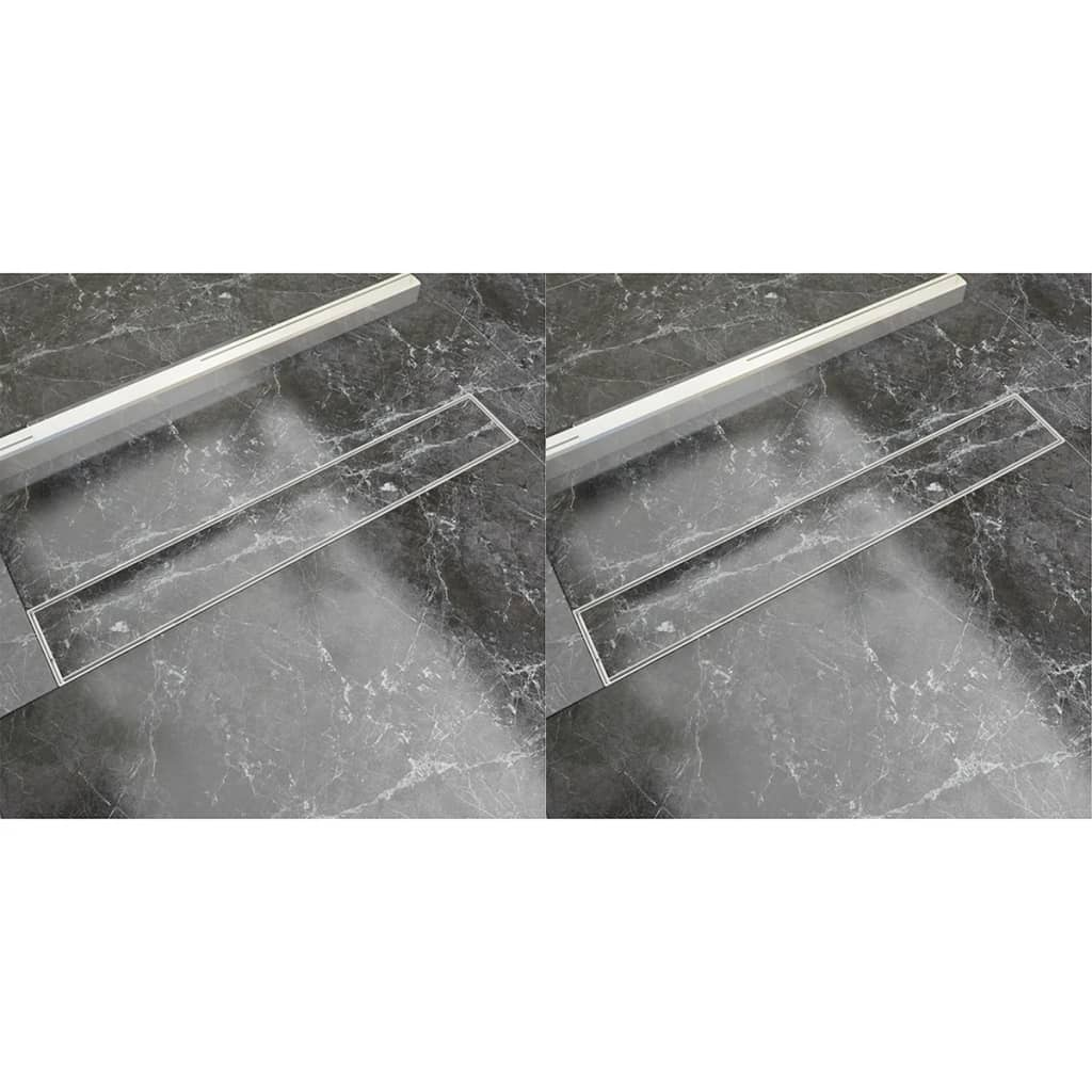 vidaXL Rigolă liniară de duș 2 buc., 730 x 140 mm, oțel inoxidabil poza 2021 vidaXL