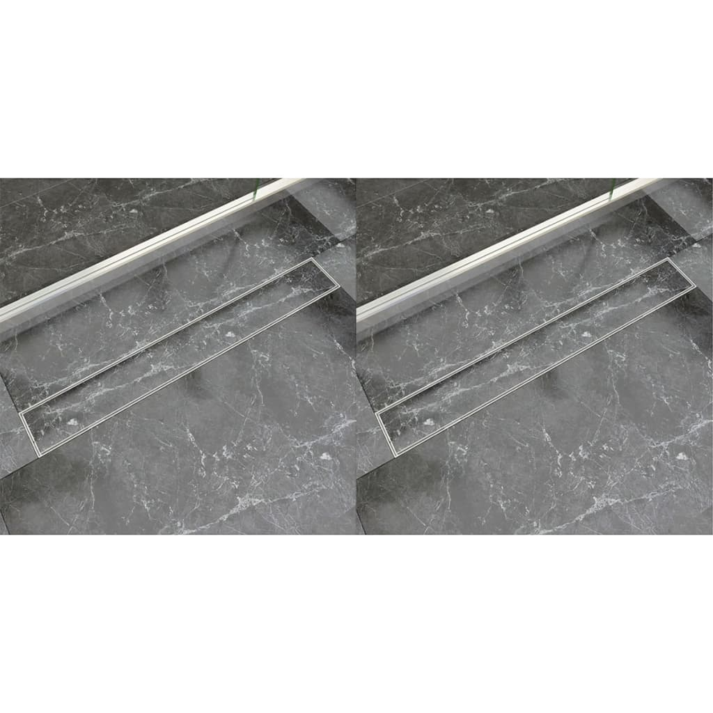 vidaXL Rovný sprchový odtokový žlab 2 ks 830 x 140 mm nerezová ocel