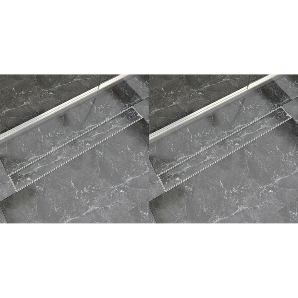 vidaXL Rigolă liniară duș, 2 buc., 930 x 140 mm, oțel inoxidabil poza vidaxl.ro