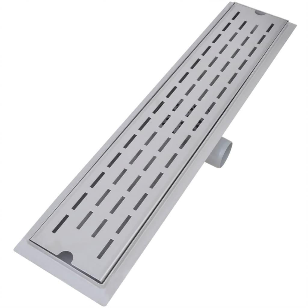 vidaXL Doucheafvoer 2 st rechthoekig lijn 630x140 mm roestvrij staal