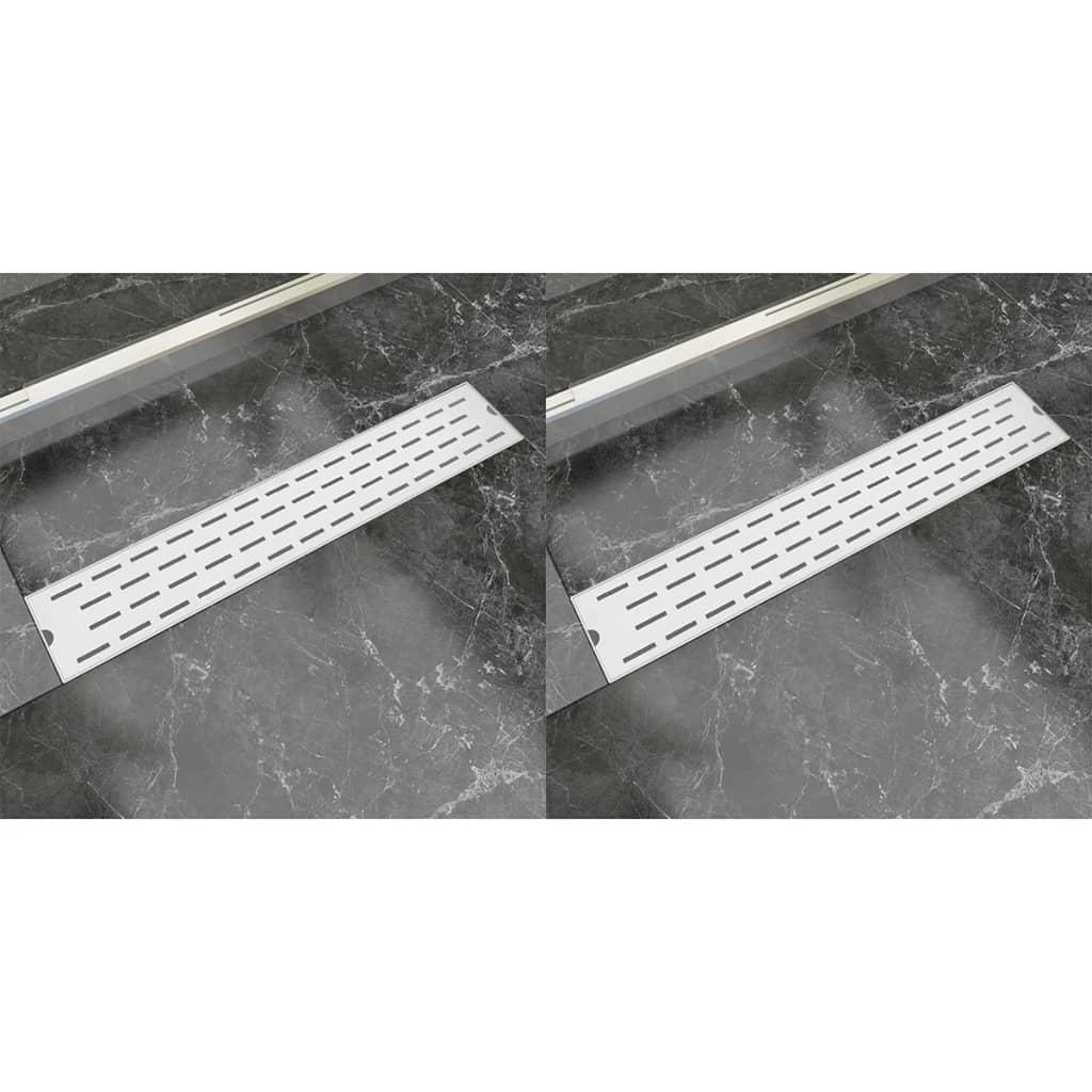 Rovný sprchový odtokový žlab 2 ks linky 630x140mm nerezová ocel