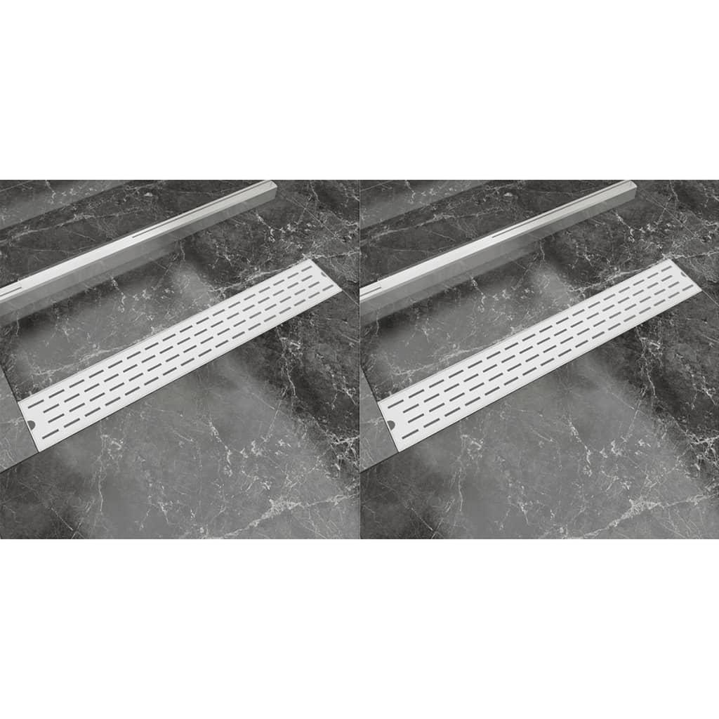 Rovný sprchový odtokový žlab 2ks Bubble 730x140mm nerezová ocel