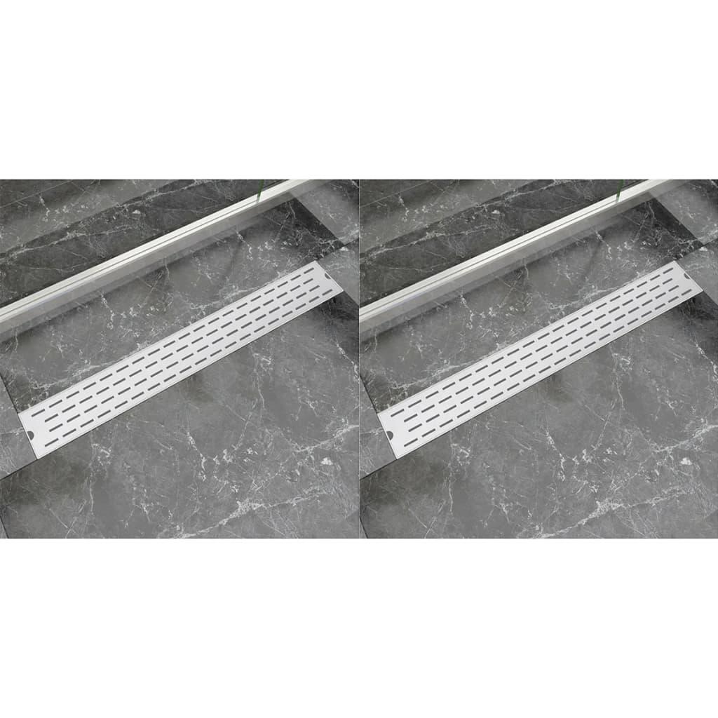 Rovný sprchový odtokový žlab 2 ks linky 830x140mm nerezová ocel