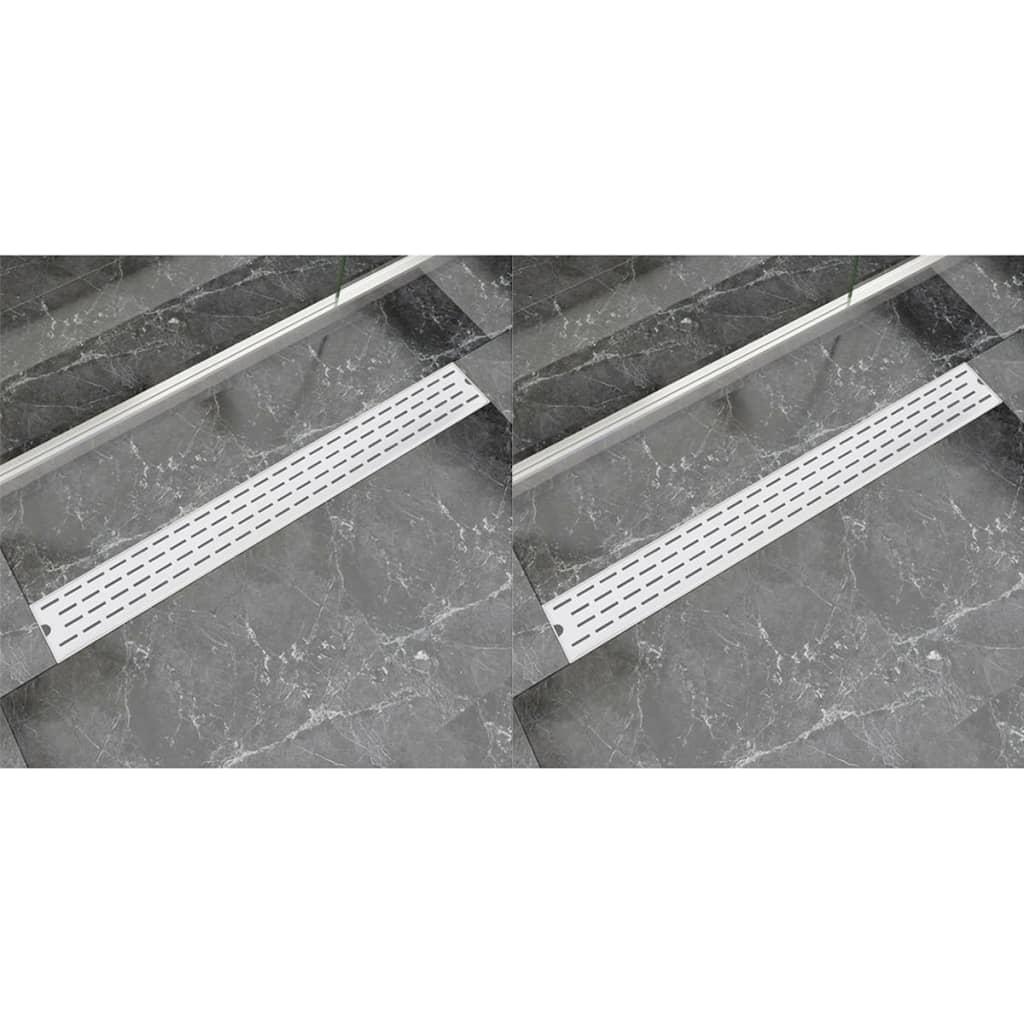 vidaXL Rovný sprchový odtokový žlab 2 ks linky 930x140mm nerezová ocel