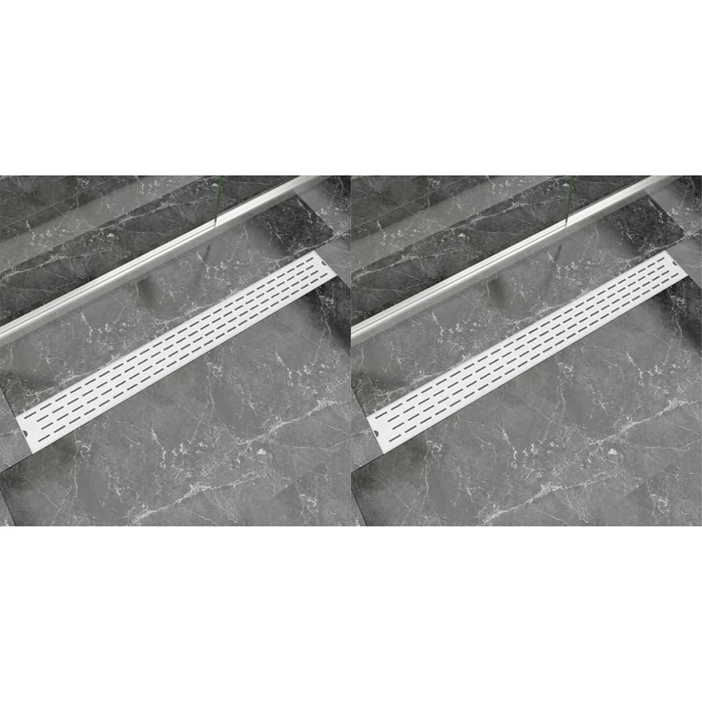 vidaXL Rovný sprchový odtokový žlab 2ks linky 1030x140mm nerezová ocel