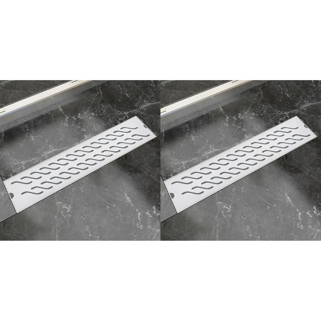 Rovný sprchový odtokový žlab 2ks vlnky 530x140mm nerezová ocel