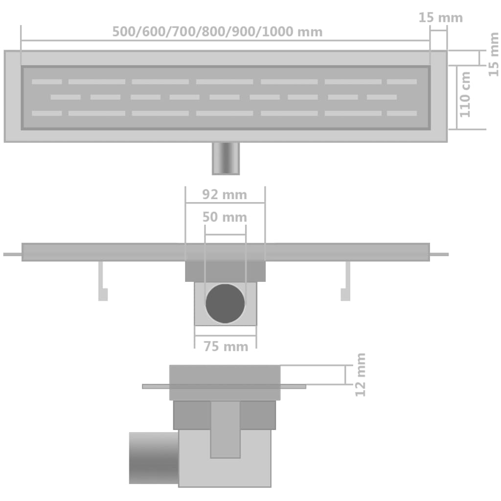 vidaXL Doucheafvoer 2 st rechthoekig golvend 630x140 mm roestvrij staal