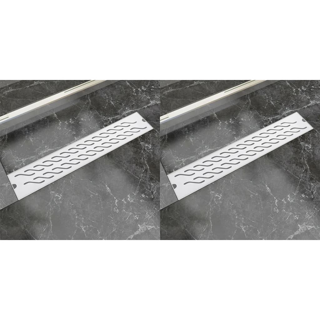 Rovný sprchový odtokový žlab 2 ks vlnky 630x140mm nerezová ocel