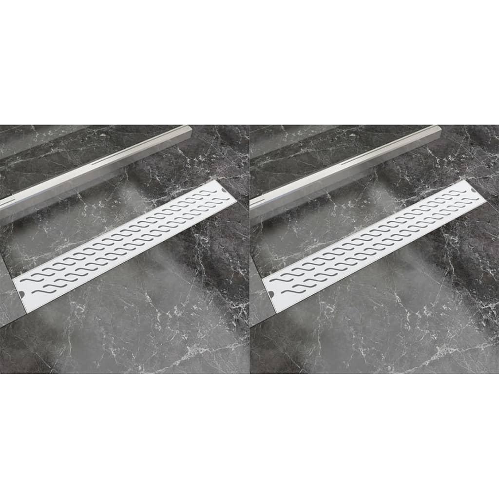 Rovný sprchový odtokový žlab 2ks vlnky 730x140mm nerezová ocel