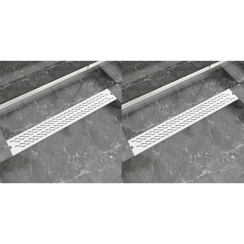 Rovný sprchový odtokový žlab 2 ks vlnky 830x140mm nerezová ocel