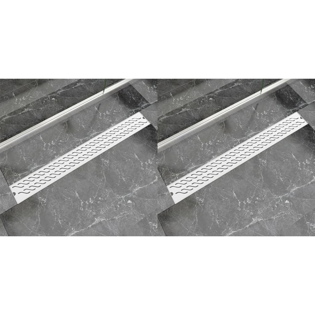 Rovný sprchový odtokový žlab 2 ks vlnky 930x140mm nerezová ocel