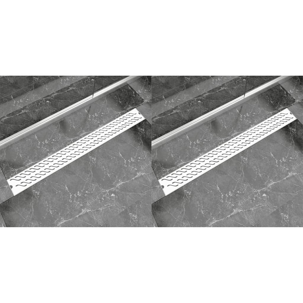 vidaXL Rovný sprchový odtokový žlab 2ks vlnky 1030x140mm nerezová ocel