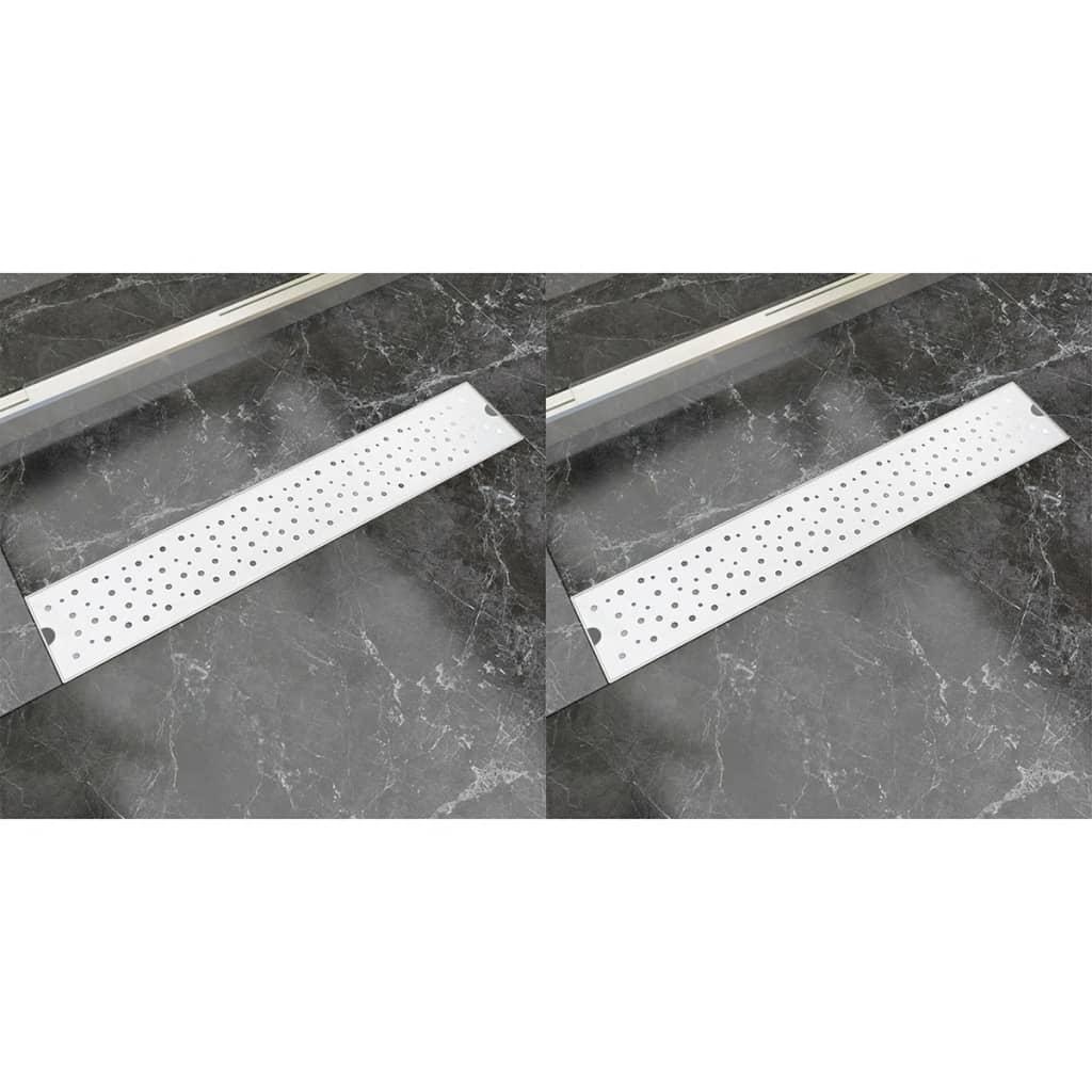 Rovný sprchový odtokový žlab 2ks Bubble 630x140mm nerezová ocel