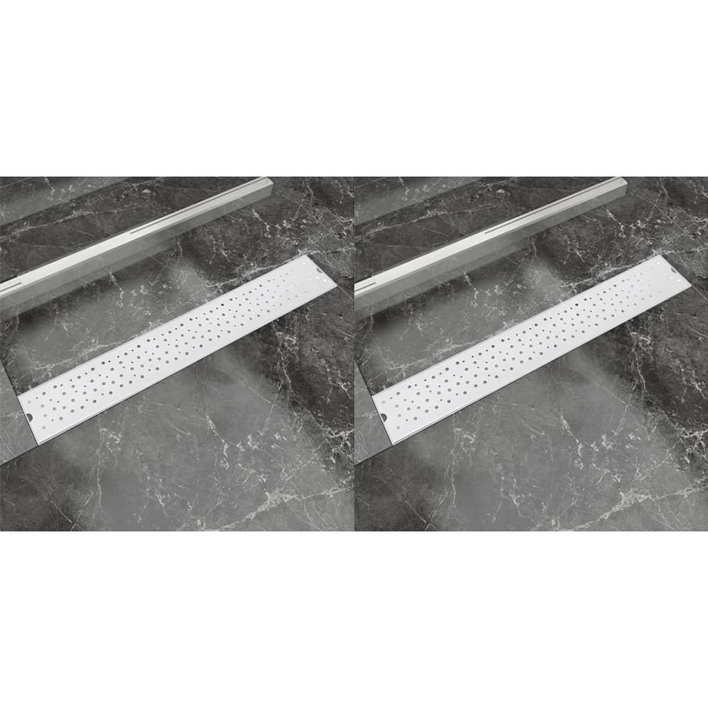 vidaXL Rovný sprchový odtokový žlab 2ks Bubble 730x140mm nerezová ocel