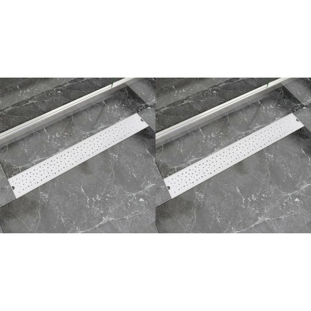 Rovný sprchový odtokový žlab 2ks Bubble 830x140mm nerezová ocel
