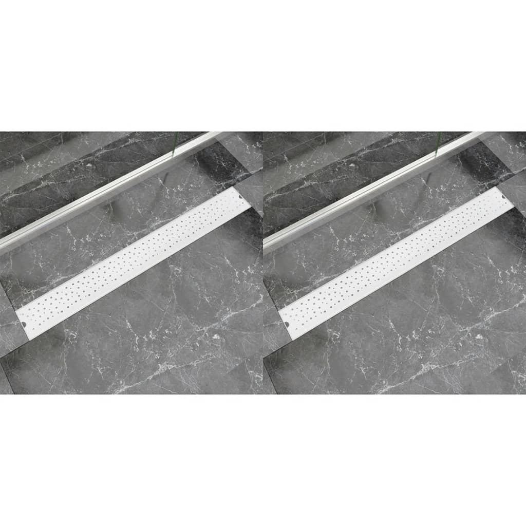 vidaXL Rovný sprchový odtokový žlab 2ks Bubble 930x140mm nerezová ocel