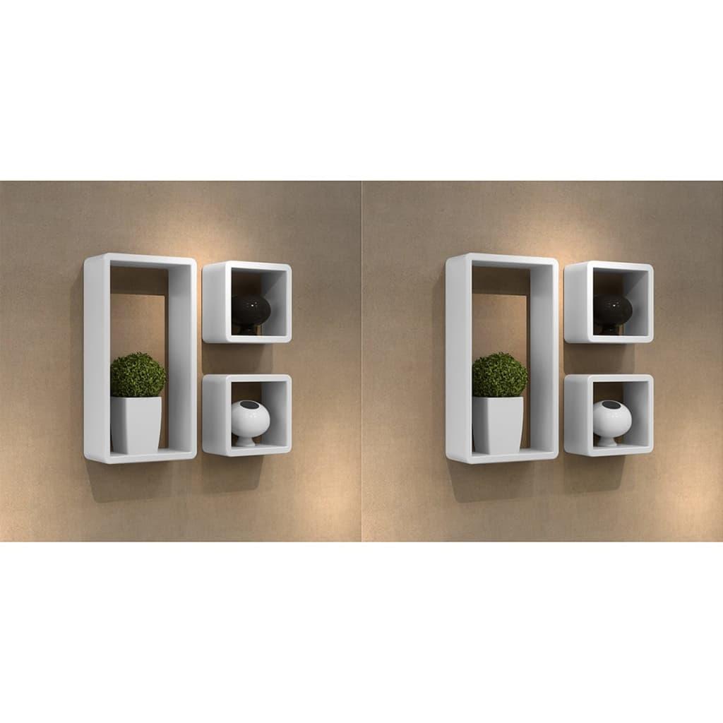 vidaXL 6 db fehér kocka alakú fali polc