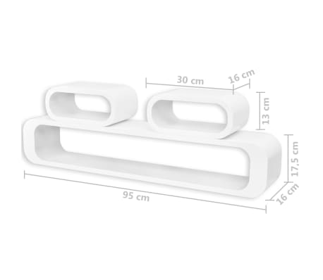 vidaXL Wall Cube Shelves 6 pcs White[7/7]