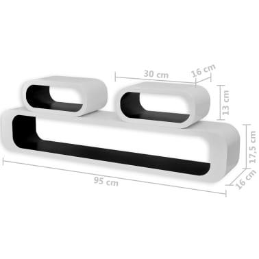 vidaXL Wall Cube Shelves 6 pcs Black and White[7/7]