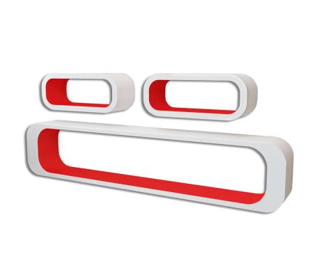 vidaXL Prateleiras de parede cubo 6 pcs vermelho e branco