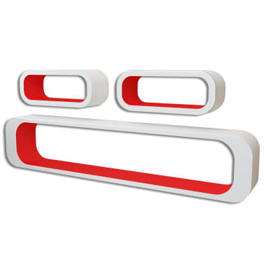 vidaXL Wall Cube Shelves 6 pcs Red and White[2/6]