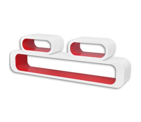 vidaXL Wall Cube Shelves 6 pcs Red and White[3/6]