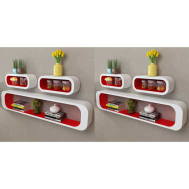 vidaXL Wall Cube Shelves 6 pcs Red and White[1/6]