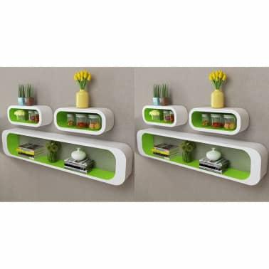 vidaXL Wall Cube Shelves 6 pcs Green and White[1/6]