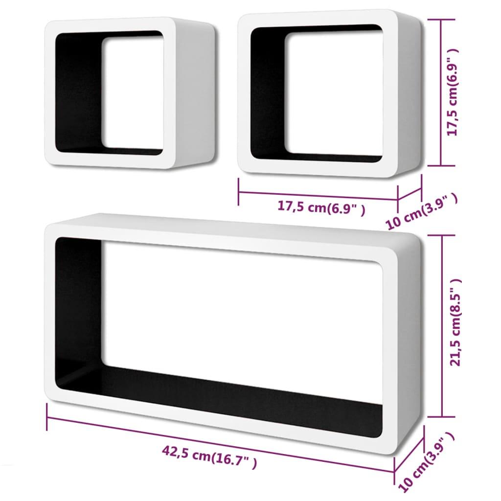 6fd9c8bcc2e vidaXL kuubikukujulised seinariiulid, 6 tk, valge ja must