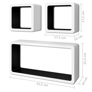 vidaXL Rafturi cub de perete, 6 buc., alb și negru[6/7]