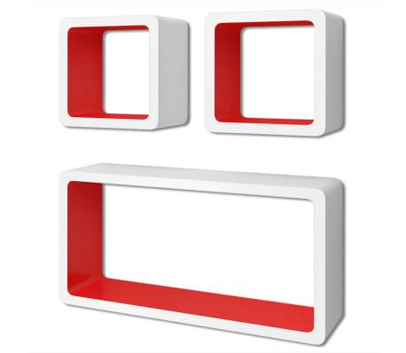 vidaXL Prateleiras de parede cubo 6 pcs branco e vermelho