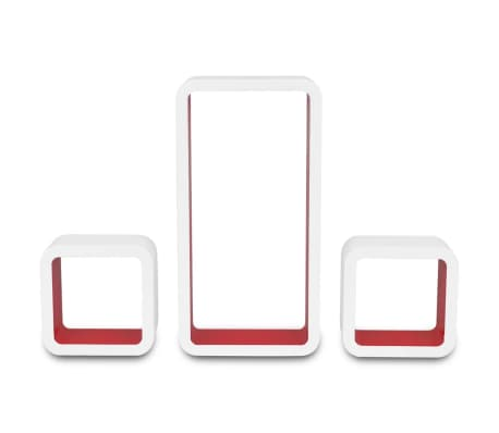vidaXL Wall Cube Shelves 6 pcs White and Red[6/7]