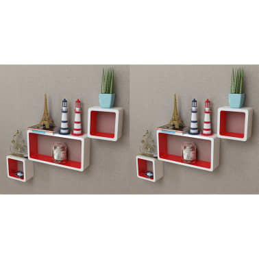 vidaXL Wall Cube Shelves 6 pcs White and Red[3/7]