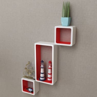 vidaXL Wall Cube Shelves 6 pcs White and Red[1/7]